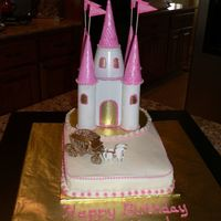 Castle Birthday Cake 9x13 iced in BC with pink pearl accents. Castle was made ahead of time out of paper towel rolls and ice cream cones that were painted....