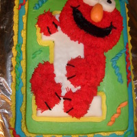 Elmo 1st birthday-buttercream with fondant accents, elmo and no 1 is rice krispy treats.