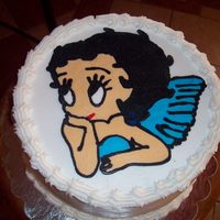 Betty Boop red velvet cake with cream cheese filling and buttercream transfer.