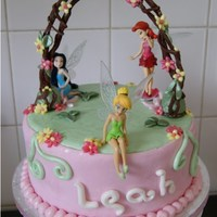 Tinkerbell Birthday Cake My daughter's 5th Birthday Cake. Chocolate Cake. All fondant and flower paste. Hope she likes it when she comes home from school!