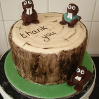 Beavers Cake This is a maderia cake with buttercream and jam. Covered in Fondant. The beavers are fondant too. This is a thank you cake for my son'...