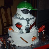 Hip Hop / Heavy Metal  this cake was for 3 30 year olds all on the same day, one liked hip hop the other two heavy metal rockers, all cho cake with buttercream...