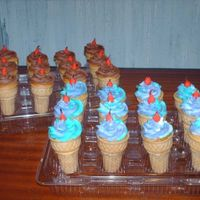 Ice Cream Cone Cupcakes  cooked in the wafer cones at 300 degrees for 22 minuets, hint dont fill them to munch, alittle more than half way, pirfect domes. peace and...
