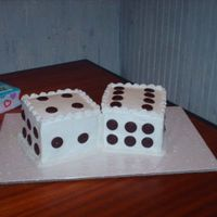 Dice Cake   yellow cake with choc, waffers, the two customers were 48 and 26 yes i know there are not 8 dots on dice, peace