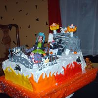 Scare Me  two sheet cakes and two ovel cakes cho, buttercream frosting, fondant accents, this cake was to match monster mini golf, the customer was...
