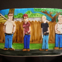"King Of The Hill Groom's Cake 2 layer, 9x13"" cake, covered in fondant with the King of the Hill alley scene painted in food coloring, topped with gum paste King of..."