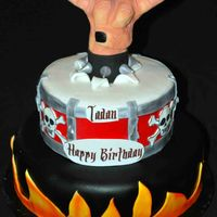 "Tadan's Rock Star 8and 12"" covered in fondant. Hand modled out of RCT and covered in fondant and hand molded. Client brought picture to me thanks for..."
