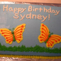 Butterfly Cake For my daughter's 6th birthday. Tried to make the writing look like sky writing.