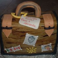 Suitcase Cake Suitcase shaped cake in an old world suitcase style. Handle/locks are made out of fondant/gumpaste along with some edible rice paper images...