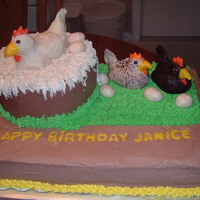 Chicken Birthday Cake   A cherry cake is the chicken nest on top of a chocolate cake. The chickens are rice krispie treats covered with candy clay.