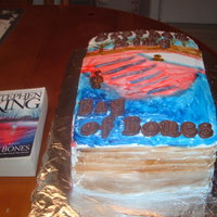 Book Birthday Cake Yellow cake with chocolate mousse filling and buttercream frosting that was totally handpainted by brush.