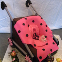 Princess Stroller This was made for a baby shower. all is edible except for the bars on the sideof the cake. this was chocolate cake with chocolate mocha...