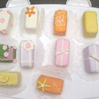 After Lunch Chit Chat This is my 3rd time making petit fours with fondant. lemon cake with lemon curd filling.