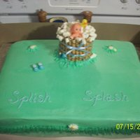 Splish Splash Baby Shower Cake with a Wash Tub made of wafer cookies, frosting and marshmallows.
