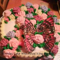 Birthday Cake For Friend At Work I made this for a friend at the hospital I used to work for. She loves butterflies, so the butterfly is made of royal icing and color flow...