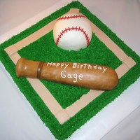 Baseball Diamond   white cake, bc icing, ball made of wilton ball pan covered in bc and mmf, bat made of rct covered in bc and mmf