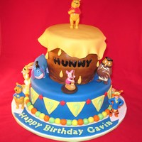 "Pooh With Hunny Pot  bottom layer 9"" top made with 4-6"" cakes carved. fondant accents. customer ordered pooh and friends to go on cake. thanks for..."