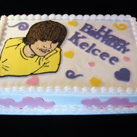 Justin Bieber   9X13 choc cake, bc icing,Justin made with royal icing, accents fondantthanks for looking