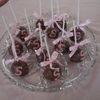 "Monogram Brownie Pops For Baby Shower These are Brownie Pops for Baby Sophie's baby Shower. ""S"" initial is coated in sanding sugar and each one is tied off with a..."