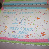 Sweet 16 Sheet Cakes tye dyed neon for Rave theme.. BC frosting