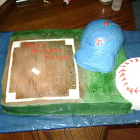Out To The Ball Game This cake was made for a little boy's birthday that is a huge Texas Rangers fan. It is marbled choc. and white covered in all BC.