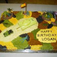 Camouflage Cake Camouflage Cake done with tip 21 and the dirt was crushed vanilla wafers with army men on top. The inside was colored with the green, dark...