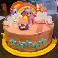 My Little Pony Buttercream frosted, fondant decorations except the My Little Pony's which are actual toys so the birthday girl could keep and play...