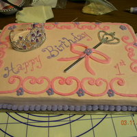 Princess 1St Birthday Pretty simple princess first birthday sheet cake with tiara and sceptor.