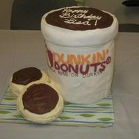 Dunkin Donuts Combo #1 Medium Coffee And 2 Donuts  I work for a Dunkin Donuts near my home town and when i first started i jumped at the chance to make a cake for my manager's birthday...