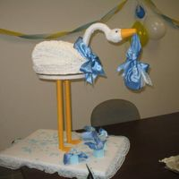 Stork Cake  a cake i made for a co-worker's baby shower... my own idea and construction... the cake itself was french vanilla with vanilla custard...