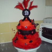 Moulin Rouge Birthday Cake   this is my 1st attempt at a stacking cake and i think it came out really well and my niece loved it