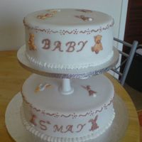 Baby Cake this is just one i made for pratice and i used the pressure piped animals that i had left over from doing a christening cake. this is my...