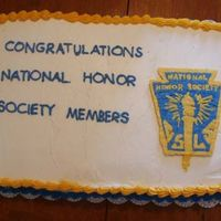 National Honor Society  This was my 2nd attempt at a frozen buttercream transfer. My sister-in-law asked for this for their installation reception. I still don&#...