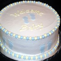 Footprint Baby Shower Cake This was done for a baby shower where the mom was expecting a boy. The invitation had footprints on it so I used that theme. I did a frozen...