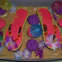 Flip Flop Cake Cake and cupcakes are yellow with bc.