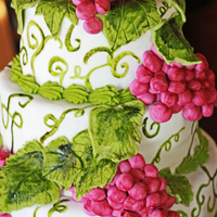 Grape Tier Cake Red velvet cake completely covered in fondant, including the leaves and grapes. Vines were hand painted on with food coloring and edible...