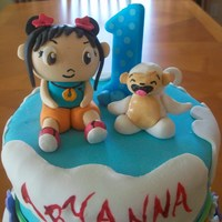 Ni Hao Kai Lan Ni Hao Kai Lan themed cake for a 1 year old girl. Hand made figurines from gumpaste. The rest of the cake is covered in Satin Ice fondant....