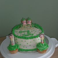Twin's Birthday Party Cake This is one of two cakes i made for my twin girls first birthday. done in BC with fondant pea pod