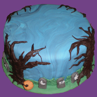 Halloween Cake This was a cake I did in class... we had limited time, supplies & materials. We were supposed to practice marbeling, piping, use...