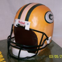 Green Bay Packer Helmet Made this for my grandson's 7th birthday. He loved it and so did his dad! Bottom layers are Banana Pound, top layers are Darn Good...