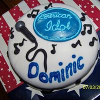 American Idol For Dominic One of four small birthday cakes delivered with a large Independence Day cake. This one is for an 8 year old American Idol fan.