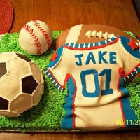 Have A Ball Sports theme 1st birthday designed to accompany jersey and ball shaped plates.