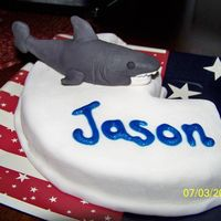 Shark! One of 4 children's birthday cakes delivered with a large Independence Day cake. This one is for a child who loves sharks.
