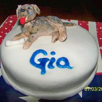 Roxy Cake For Gia One of 4 small birthday cakes delivered with a large Independence Day cake. This one was for a 5 year old girl. The dog resembles her new...