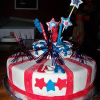 4Th Of July Cake for a July 4th party. Fireworks exploding out of top. Thanks CCers for the idea!!!!!