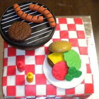 Bbq Cake I was inspired by several pictures on this site. Everything on this cake is edible. All decorations are molded from fondant. The bbq is a...