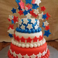 "Sparkle-Tastic 4Th Of July! I made this cake for my mom's 4th of July party...and to try out my new 4"" pans :). I wasn't too happy with the ball border..."