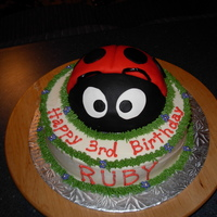 Ladybug Birthday Ladybug cake done with half of the Wilton Sports Ball pan covered with red and black fondant. The rest of the cake is buttercream