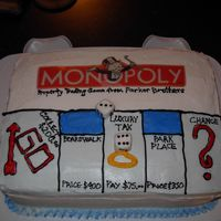 Monopoly Cake This is a 9x13 vanilla cake with strawberry jam filling. It was for a Monopoly fanatic :) The logo is just printed on paper but everything...