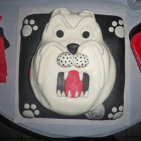 Bulldog 3D Black, Red And White Birthday Cake I made this at last minute for my friends Birthday Bash. Love when I'm told a few hours before that a cake is needed lol. Bulldog made...